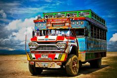 """""""Chiva"""" bus criss-crosses Colombia Dark Roasted Blend: Colorful South American Buses, Part 2 Jeep Willys, Dark Roast, Busses, Old Trucks, Public Transport, Van Life, South America, Transportation, Arte Popular"""