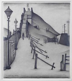 Laurence Stephen Lowry drawing in pencil, titled 'A Footbridge', signed and dated 1935 Perspective Art, Irish Art, English Artists, Eye Art, Urban Landscape, Art Auction, Art For Sale, Pencil Drawings, Art Sketches