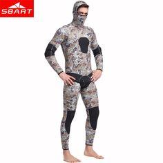 SBART 5MM Two Pieces Split Neoprene Scuba Diving Wetsuit Equipment Keep Warm  Full Hooded Zipper Spearfishing Wet Suit For Men J-in Wetsuit from Sports  ... 039009998