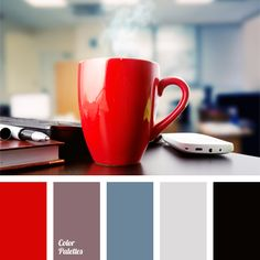 bright red color, color matching, color solution for an office, cornflower blue color, dark blue and blue, dirty blue color, lilac and blue, lilac color