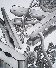"""Still life of pins and """"what you feel connected to"""". Might be good with ink wash too?"""