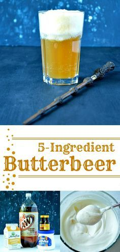 5 ingredient, non-alcoholic Butterbeer that tastes almost as good as the real deal! And it only takes 5 minutes to make! Save it for the next Harry Potter themed party! Accio Butterbeer!