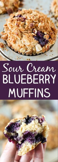 These Sour Cream Blueberry Muffins are so tender and delicious! They are packed with fresh blueberries and sprinkled with a crunchy streusel topping. Made with whole wheat flour, reduced fat sour cream and sprinkled with a hearty oatmeal streusel. Muffin Recipes, Brunch Recipes, Baking Recipes, Breakfast Recipes, Dessert Recipes, Breakfast Ideas, Bread Recipes, Sour Cream Muffins, Blue Berry Muffins