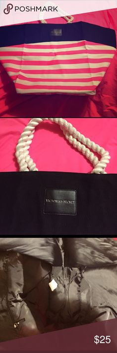 Victoria's Secret large beach bag brand new, nice NWT VS beach bag, very large, plenty of room for all you beach fun equipment or great to use for an everyday tote, has a zippered pocket on inside, rope handles, extremely cute and very nice💖🐱friendly home, try to keep items separated until sale Victoria's Secret Bags Totes