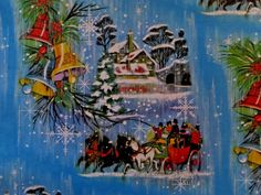 VINTAGE HORSE DRAWN SLEIGH WINTER SNOW FLAKES CHRISTMAS GIFT WRAP WRAPPING PAPER