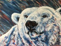 """Polar Bear, acrylic on canvas. From the """"Red Series"""", endangered animals. By Sara Cuthbert"""