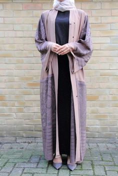 Mocha with Lavender Lace Abaya Modest Wear, Modest Outfits, Stylish Outfits, Modest Clothing, Islamic Fashion, Muslim Fashion, Modest Fashion, Modern Abaya, Kebaya Dress