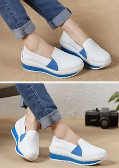 Women's casual #white PU leather slip on #platform shoes, Round toe design, leather upper, mesh lining.