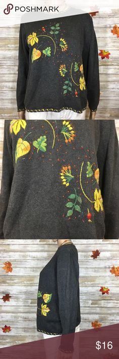 """Karen Scott Cozy Fall Leaves Sweater Gray sweater embellished with fall colored leaves and berries. Brand: Karen Scott. Size and material tags cut out. About a size large. Condition: Good pre-owned condition, does have one stitch sticking up at neck. Has a label in it (owner). Measurements (flat): armpit to armpit: 21""""; waist: 19.5""""; bottom hem: 19""""; sleeve: 22""""; length: 19.5"""". Karen Scott Sweaters"""