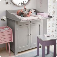 Pink, gray and purple. Perfect colors in a #modernnursery!