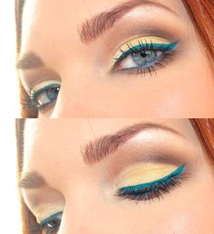 Love the yellow with turquoise, I would do a more bronze crease