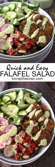 This quick and simple, healthy vegetarian falafel salad is made with pantry staple ingredients. Top it with tahini lime dressing, or your favorite hummus!