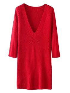 Red V-neck Long Sleeve Knit Sweater Dress