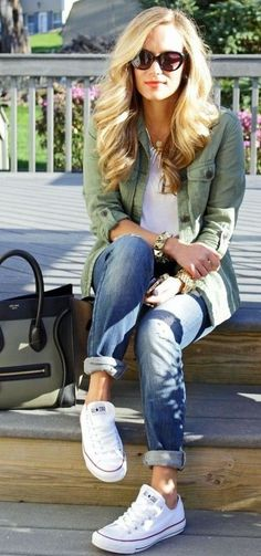 boyfriend jeans + converse + military jacket