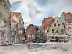 Szczytna Street, 36x48cm, 2008 www.minhdam.com #architecture #watercolor #watercolour #art #artist #painting #torun #poland