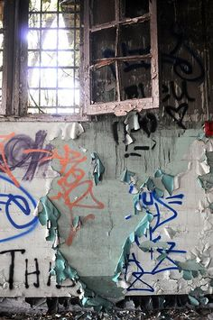 Walls once visited by taggers are peeling, revealing a new canvas underneath.  by Joeff Davis