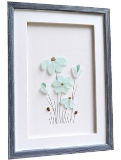 #Seaglassart #seaglass #beachglass #beachcombing #genuineseglass #Bathroomwallart #Coastalhomedecor #Blueflowers #Nursery decor