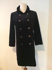 $298 BLACK VELVET J. CREW PEA COAT Long Jacket WOMENS 6 Lined Steampunk S