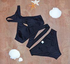 Black Cross High neck bikini set Women's Swimwear Swimsuit https://www.stylishntrendier.com/