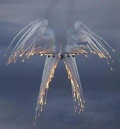 """*""""Angel Flight"""" is the call sign for a USAF aircraft carrying a fallen hero on board. Their """"Salute"""" with flares looks like an angel with wings. Carros Bmw, Angel Flight, Flight Wings, Cool Photos, Beautiful Pictures, Amazing Photos, Photographie Portrait Inspiration, Angels Among Us, Angel Of Death"""