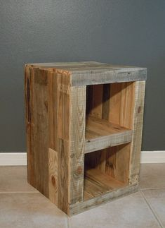 Pallet Nightstand Side Table Reclaimed Pallet Wood - March 24 2019 at Recycled Pallets, Wooden Pallets, Pallet Wood, Wood Pallet Tables, Wood Pallet Shelves, Wooden Pallet Ideas, Pallet Patio, Pallet Bar, Wood Ideas