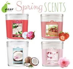 Nothing smells better than #Spring! Colonial Candles smell so good! Dragon Fruit, Fresh Strawberry Rhubarb, Coconut Rain and Pink Cherry Blossom. #homedecor. #pearhome #spring #shoplocal #Orangeville #giftideas