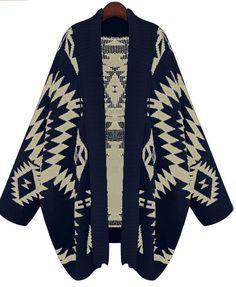 Sweater cardigan bleu marine à motifs géométriques 16.20