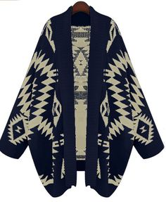 Navy Batwing Long Sleeve Geometric Cardigan Sweater
