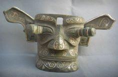 "13"" Bronze and Silver SanXingDui Face"