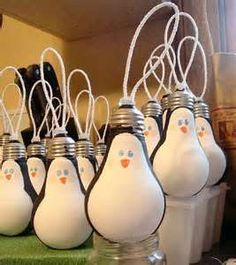 Image detail for -Recycled Light Bulb Penguins by learningengli - Popular DIY…