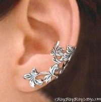Sterling Silver ear cuff earrings, Non pierced earcuff jewelry 110412