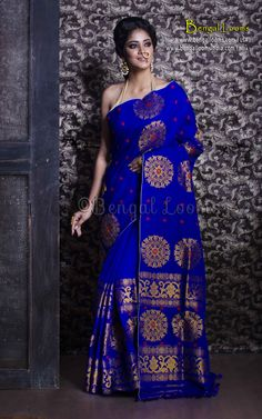 Pure Handloom Padmini Cotton Mekhela Chador in Royal Blue and Gold Royal Blue Saree, Blue Silk Saree, Pure Silk Sarees, Assam Silk Saree, Mekhela Chador, Wedding Saree Collection, Indian Bridal Outfits, Trendy Sarees, Saree Trends