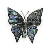 $99.95 This beautiful pin can be worn year-round with many outfits and styles. Bright greens, blues and purple are wonderfully iridescent in this natural abalone shell. The shell wings are set in fine sterling silver. The back is solid silver as well. An Element Jewelry gift box is included with this purchase.