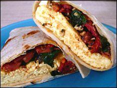 168 calorie spinach, tomato, feta, and egg wrap.