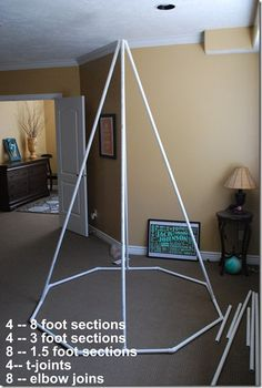 Make a Summer Reading Tent/Teepee! {tutorial} - Tents - Ideas of Tents - 4 8 ft. sections 4 3 ft. sections 8 18 inch sections 4 t joints 8 45 degree elbows Drill holes in top poles and zip tie together Diy Tipi, Diy Kids Teepee, Play Teepee, Diy Teepee Tent, Play Tents, Reading Tent, Reading Nooks, Reading Areas, Pvc Pipe Projects