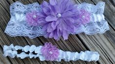 Purple lace wedding garter belt set with something blue hidden on the inside of the keep garter