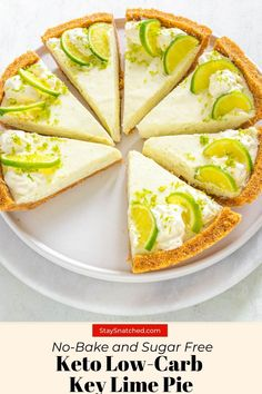 This Keto Low-Carb Key Lime Pie is an easy no-bake recipe that uses no eggs! This sugar-free dessert is made with a sweet graham cracker crust and zesty lime custard filling. Sugar Free Desserts, Low Carb Desserts, Healthy Desserts, Low Carb Recipes, Healthy Recipes, Summer Desserts, Sweet Recipes, Dessert Recipes, Gluten Free Key Lime Pie