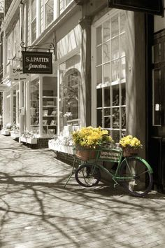 """Charming #storefront: #Bicycle With Flowers - Nantucket Print By Henry Krauzyk """" Antique #Bicycle with #Flowers – #Nantucket is a photograph from my Coastal New England Series – Nantucket. I was walking along Main Street Nantucket during the annual Nantucket Daffodil Festival. ..."""""""