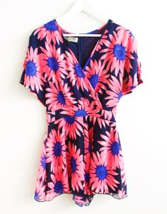 Bold Neon Floral Print Wrap Chiffon Playsuit in Navy £ 12.95 #chiarafashion