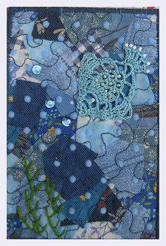 Fabric postcard with crochet.