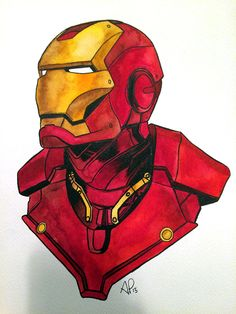 marvel drawings Iron Man Watercolor on Behance Iron Man Wallpaper, Gambit Wallpaper, Marvel Wallpaper, Avengers Drawings, Avengers Art, Marvel Art, Marvel Heroes, Iron Man Kunst, Iron Man Art