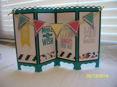 """Banner Screen Card by Donna Wicks,  Card base:5 1/2"""" x 8 1/2"""" scored into quarters. SCORE long side in half like a regular card at: 4 1/4"""" then from each end at 2 1/8"""". The dsp strip is the same, used both sides. Stps: Perfect Pennants,Geometrical CS:Bermuda Bay,Basic Black,Whis White,Smoky Slate,dsp Kaleidoscope Ink:Summer Starfruit,Bermuda Bay,Strawberry Slush, Smoky Slate Punches:Scallop Trim Border,Triangle, Pennant Builder, 1/8"""" circle,Twine,Summer Starfruit, Dimension btw…"""