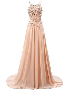 Sexy Open Back Chiffon Prom Dresses Sleeveless Crystal Formal Wedding Party Gown Dama Dresses, Straps Prom Dresses, Cute Prom Dresses, Pretty Dresses, Women's Dresses, Sequin Bridesmaid, Long Bridesmaid Dresses, Formal Gowns, Formal Prom