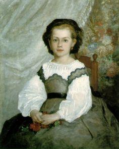르누아르 - 로멘느 라코양의 초상   이 그림은 아마 르누아르가 그린 작품 중 가장 처음으로 사인과 날짜를 써넣은 그림이었을 것으로 추정된다. 르누아르는 막 23세가 되던 해에 이 초상화를 그렸다. 그가 바르비종의 작가 거주지에 머물면서  여러가지 양식을 실험하고 있을 때, 휴가를 이쪽으로 와있던 라코 가에서 딸의 초상화를 그려달라고 주문했다. 여전히 그림을 배우고 있던 그는 이 작품에서 머리카락은 루벤스를 모방하고, 뚜렷한 윤곽의 얼굴과 레이스의 옷 윤곽은 앵그르의 기법을 따랐다. 흰 색의 터치는 쿠르베의 느낌이 나고, 부드러운 꽃 모양의 배경은 코로에 대한 경의를 보여주고 있다. 비록 지금 이 그림은 배경이나 색감 톤 자체가 어둡게 표현되긴 하였지만 이것은 그의 초기 작품인 까닭이다. 후기에 그의 작품은 밝은 색과 톤을 추구하게 된다.