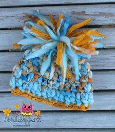 Chunky Pom Pom Hat Merino WoolSari Silk Ribbon by Doodlebopperz, $26.00