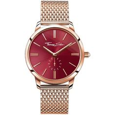Thomas Sabo Glam Spirit Red Dial Rose Tone Mesh Bracelet Ladies Watch... (17.360 RUB) ❤ liked on Polyvore featuring jewelry, watches, red wrist watch, thomas sabo watches, rose crown, red dial watches and beaded watches
