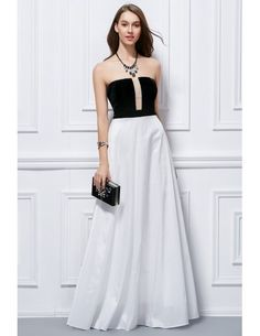 Summer Wedding Guest Dress.  Chic Strapless Black and White  Evening Dress.