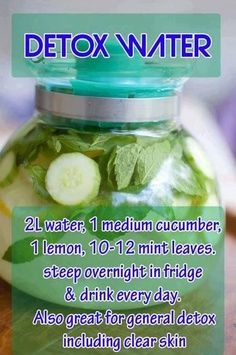 Detox Water recipe! Gonna buy these ingredients next time I go grocery shopping!! :)