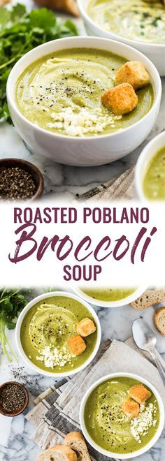 This Roasted Poblano Broccoli Soup is made with roasted poblano peppers, caramelized onions and an entire pound of broccoli for a healthy and comforting soup that's gluten free, dairy free, vegetarian and vegan! #broccolisoup #glutenfree #vegetarian #vegan