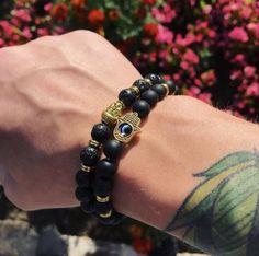 #mensfashion #bracelets #menstyle #fashion #trendy #menswear #mentattoos #jewelry #jewellery Mens Gold Bracelets, Beaded Bracelets, Hamsa Hand, Stone Bracelet, Natural Stones, Tattoos For Guys, Menswear, Mens Fashion, Jewellery
